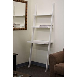 Leaning Ladder White Laptop Desk and Book Shelf - 13014142 - Overstock