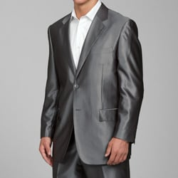 Carlo Lusso Men's Shiny Grey 2-button Suit