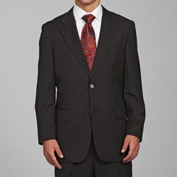 Carlo Lusso Men's Black Striped 2-button Suit