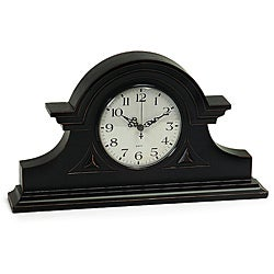 Wood Regent Stately Black Captain&#39;s Mantel Clock