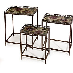 Set of 3 Iron Argento Floral Nesting Tables