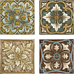 Set 4 Old Spanish Mission Rosette Design Wall Tiles