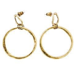NEXTE Jewelry 14k Yellow Gold Overlay Abstract Round Hammered Earrings