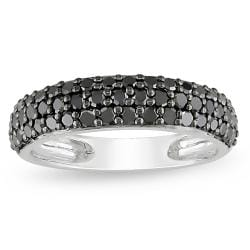 10k White Gold 1ct TDW Black Diamond Pave Ring