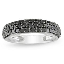 10k White Gold 1ct TDW Black Diamond Pave Ring