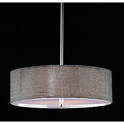 Indoor 5-light Silver/ Black Rhinestone Pendant Chandelier