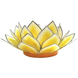 Capiz Shell Dahlia Yellow Lotus Tea Light (Philippines)