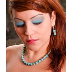 Blue Turquoise and Rhinestone Jewelry Set