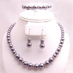 Silver Glass Pearl and Rhinestone Jewelry Set