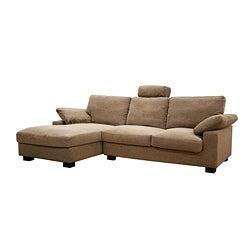 Priscilla Twill Fabric Dark Wood Sectional Sofa