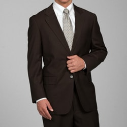 Men's Brown Fine Stripe 2-button Suit