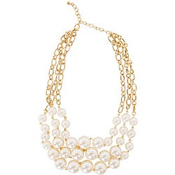 Goldtone Cream Color Faux Pearl Bib Necklace