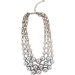 Grey Faux Pearl Bib Necklace
