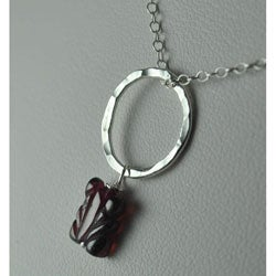 Fine and Sterling Silver Ring with Garnet Pendant Necklace