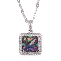 14k White Gold Mystic Topaz and 1/7ct TDW Diamond Necklace
