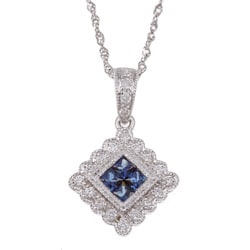 14k White Gold Sapphire and 1/6ct TDW Diamond Necklace (H-I, I1-I2)