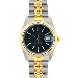 Pre-owned Rolex Midsize Datejust Black Dial Two-tone Watch