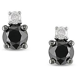 10k Gold 1ct TDW Black and White Diamond Stud Earrings (H-I, I2-I3)