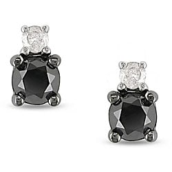 Miadora 10k Gold 1/2ct TDW Black and White Diamond Earrings (H-I, I2-I3)