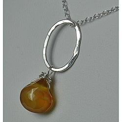 Sterling and Fine Silver Honey Chalcedony Necklace