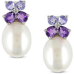 10k Gold FW Pearl, Multi-gemstone and Diamond Earrings (8-8.5 mm)