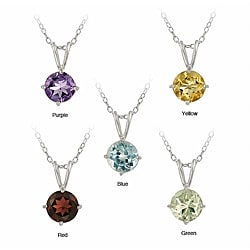 Sterling Silver Round Multi-gemstone Necklaces (Set of 5) | Overstock.com