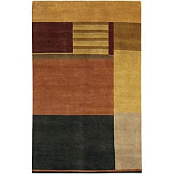 Hand-knotted Mandara Multi-color Wool Rug (5' x 7'6)