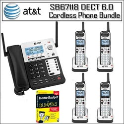 AT&T Corded/ Cordless Phone System Base with 4 Handsets