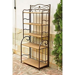 Valencia Brown Resin Wicker/ Steel 5-tier Shelf