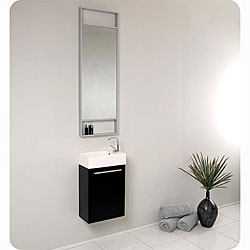 Fresca Pulito Small Black Modern Bathroom Vanity with Tall Mirror