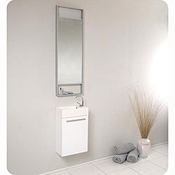 Fresca Pulito White Stainless Steel Tall Mirror Bathroom Vanity
