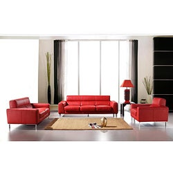Rosso Red Leather 3-piece Sofa Set