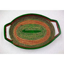 Bugandan Green Tribal Food Tray Basket (Uganda)