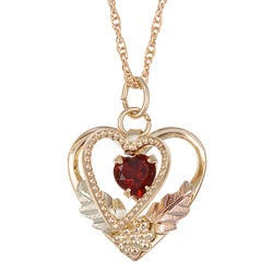 Black Hills Gold Garnet Heart Necklace