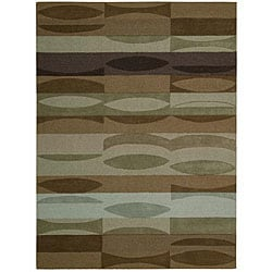 Nourison Hand-tufted Panache Brown Abstract Wool Rug (8' x 11')