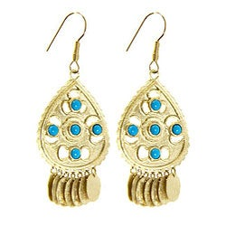 Adee Waiss Gold Overlay Turquoise Magnesite Dangle Earrings