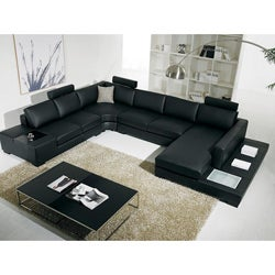 Tosh Furniture Black Bonded Leather Sectional Sofa