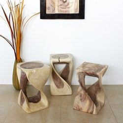 12 Inches Square x 20-inch Hand-carved Wooden Twist White Stool (Thailand)