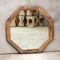 Teak Wood White Oil Octagon Mirror (Thailand)