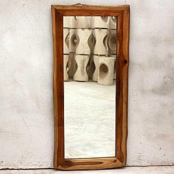 Teak Wood Walnut Oil Rectangular Floor Mirror (Thailand)