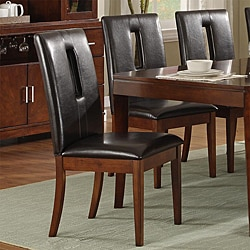 Lancaster Open Back Dark Brown Upholstered Dining Chair (Set of 2)