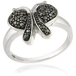 DB Designs Sterling Silver Black Diamond Accent Butterfly Ring
