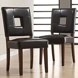 Calvados Faux Leather Dark Brown Side Chairs (Set of 2)