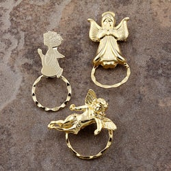 SPEC Pin Gold-plated Angels Glasses Holder (Set of 3)