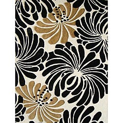 Hand-tufted Sabrina Black/ Beige Wool Rug (4' x 6')