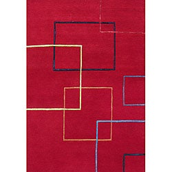 Hand-tufted Metro Red Wool Rug (8' x 10')