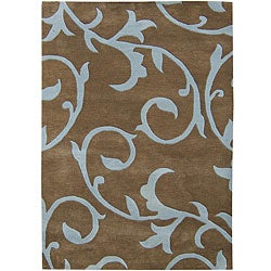 Hand-tufted Sabrina Brown Wool Rug (5' x 8')