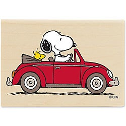 Peanuts Driving Woodstock Wood Mounted Rubber Stamp