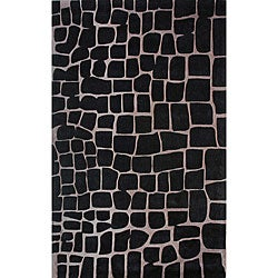 nuLOOM Handmade Black Norwegian Crocodile Skin Print Rug (5' X 8')