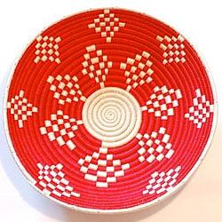 Plant Fiber Red and White Plateau Basket (Rwanda)